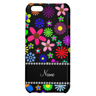 Personalized name black colorful retro flowers cover for iPhone 5C