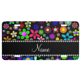 Personalized name black colorful retro flowers license plate