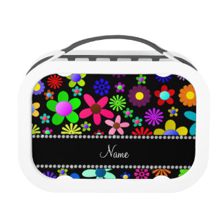 Personalized name black colorful retro flowers yubo lunchbox