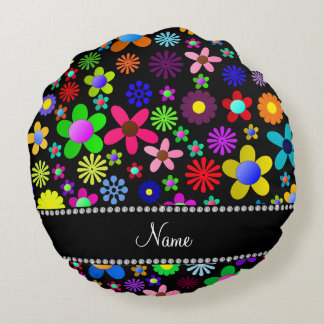 Personalized name black colorful retro flowers round pillow