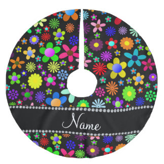 Personalized name black colorful retro flowers tree skirt