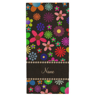 Personalized name black colorful retro flowers wood USB 2.0 flash drive