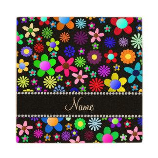 Personalized name black colorful retro flowers maple wood coaster