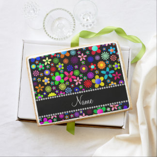 Personalized name black colorful retro flowers jumbo cookie