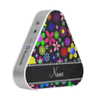 Personalized name black colorful retro flowers speaker