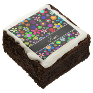 Personalized name black colorful retro flowers brownie