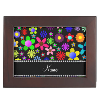 Personalized name black colorful retro flowers keepsake box