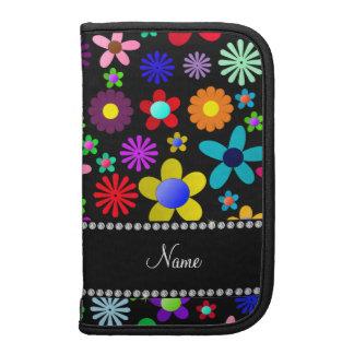 Personalized name black colorful retro flowers folio planner