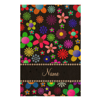 Personalized name black colorful retro flowers cork fabric