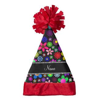 Personalized name black colorful retro flowers santa hat