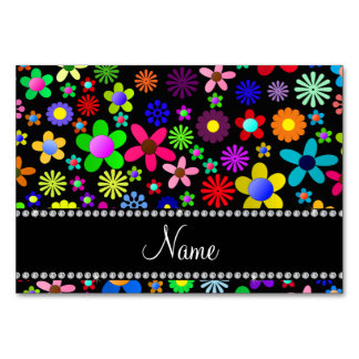 Personalized name black colorful retro flowers table card
