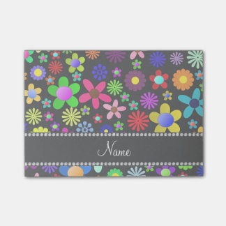 Personalized name black colorful retro flowers post-it® notes