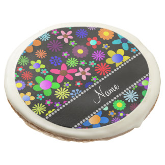 Personalized name black colorful retro flowers sugar cookie