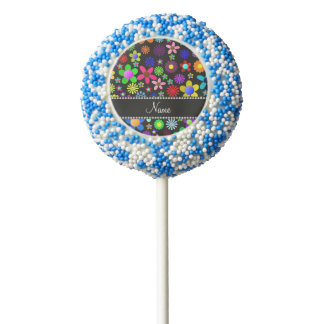 Personalized name black colorful retro flowers chocolate dipped oreo pop