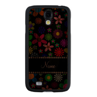 Personalized name black colorful retro flowers carved® walnut galaxy s4 slim case