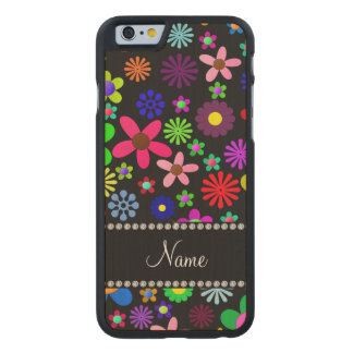 Personalized name black colorful retro flowers carved® maple iPhone 6 slim case