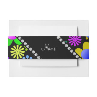 Personalized name black colorful retro flowers invitation belly band