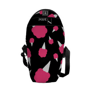 Personalized name black cotton candy messenger bags