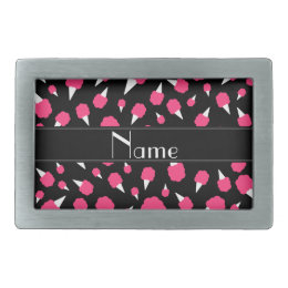 Personalized name black cotton candy rectangular belt buckle