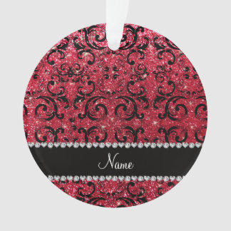Personalized name black crimson red glitter damask