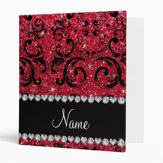 Personalized name black crimson red glitter damask binder