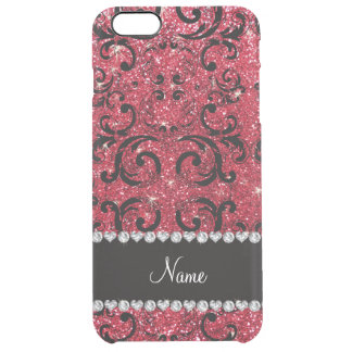 Personalized name black crimson red glitter damask clear iPhone 6 plus case
