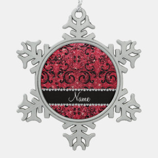 Personalized name black crimson red glitter damask ornaments