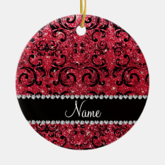 Personalized name black crimson red glitter damask christmas ornaments