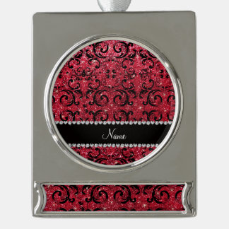 Personalized name black crimson red glitter damask silver plated banner ornament