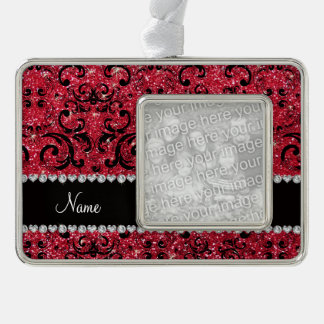 Personalized name black crimson red glitter damask silver plated framed ornament