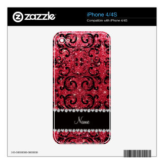 Personalized name black crimson red glitter damask decal for iPhone 4S