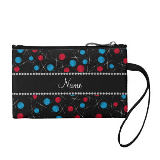 Personalized name black crochet pattern coin purse