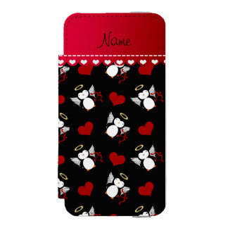 Personalized name black cupid penguins red hearts wallet case for iPhone SE/5/5s