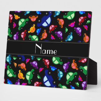 Personalized name black cute car pattern photo plaque