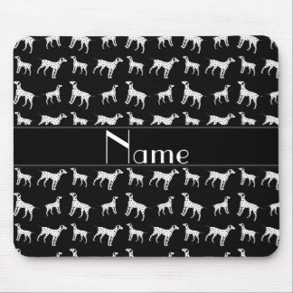 Personalized name black dalmatian dogs mouse pad