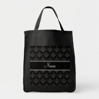 Personalized name Black damask Canvas Bag