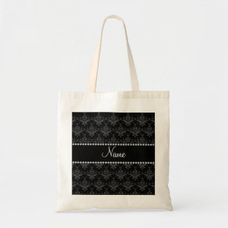 Personalized name Black damask Tote Bags