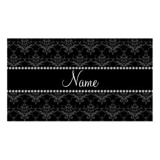 Personalized name Black damask Business Card