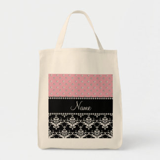 Personalized name black damask light pink diamonds canvas bags