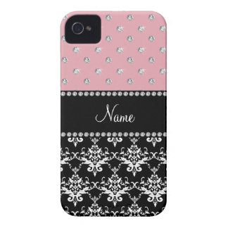 Personalized name black damask light pink diamonds iPhone 4 Case-Mate cases
