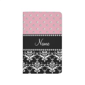 Personalized name black damask light pink diamonds journal