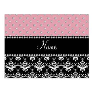 Personalized name black damask light pink diamonds postcard