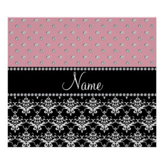 Personalized name black damask light pink diamonds poster