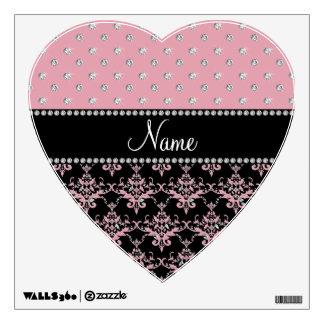 Personalized name black damask light pink diamonds wall graphics