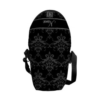 Personalized name Black damask Courier Bags