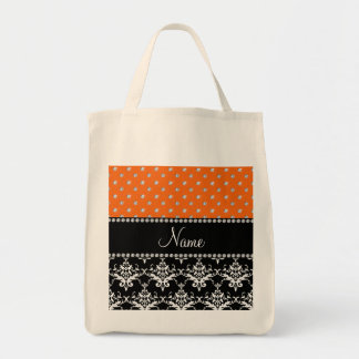 Personalized name black damask orange diamonds bag