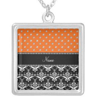 Personalized name black damask orange diamonds necklace