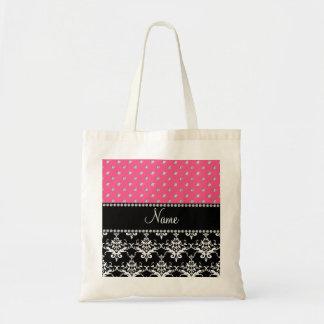 Personalized name black damask pink diamonds tote bag