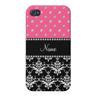Personalized name black damask pink diamonds iPhone 4/4S cases