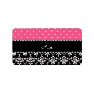 Personalized name black damask pink diamonds address label